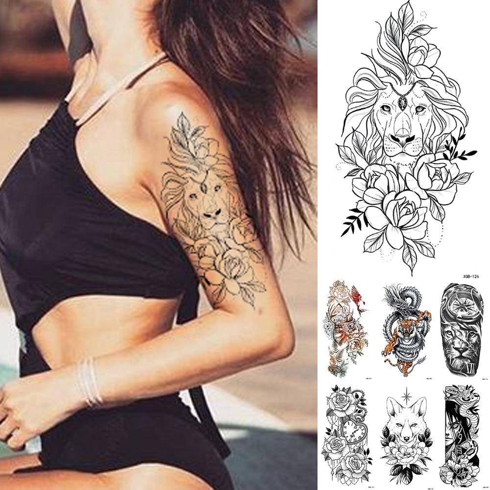 Waterproof Temporary Tattoo Sticker Lace Rose Flowers Lion Flash Tattoos Wolf Fox Body Art Arm Fake Sleeve Tatoo Women Sn20701 Sooshell