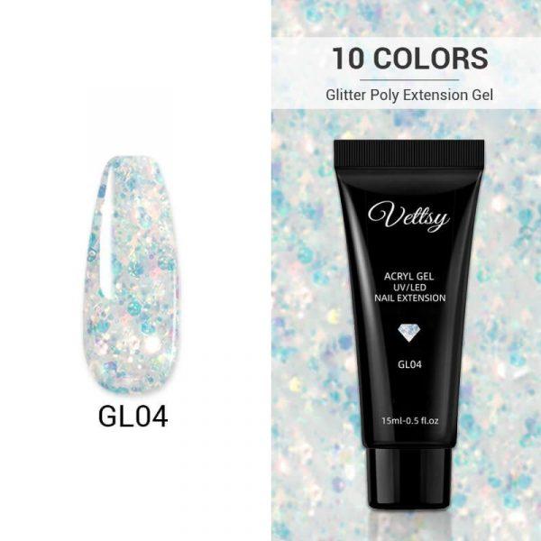 Glitter Crystal Polygel Nail Extension VT202217 - Vettsy