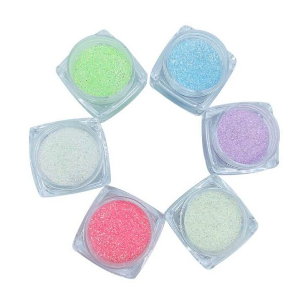 6 Colors Glow In Dark Nail Glitter Powders VT202316 - Vettsy
