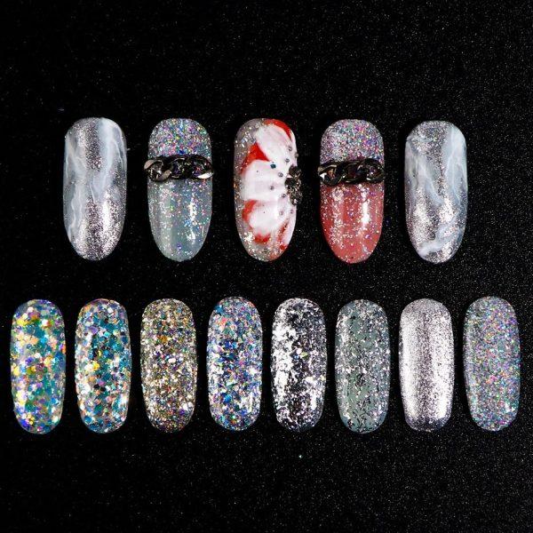 8pcs Laser Sequins for Nails Silver Glitter Chrome Pigment VT202125 - Vettsy