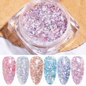 6 Colors Shiny 3D Crystal Nail Glitters Sequins VT202117 - Vettsy