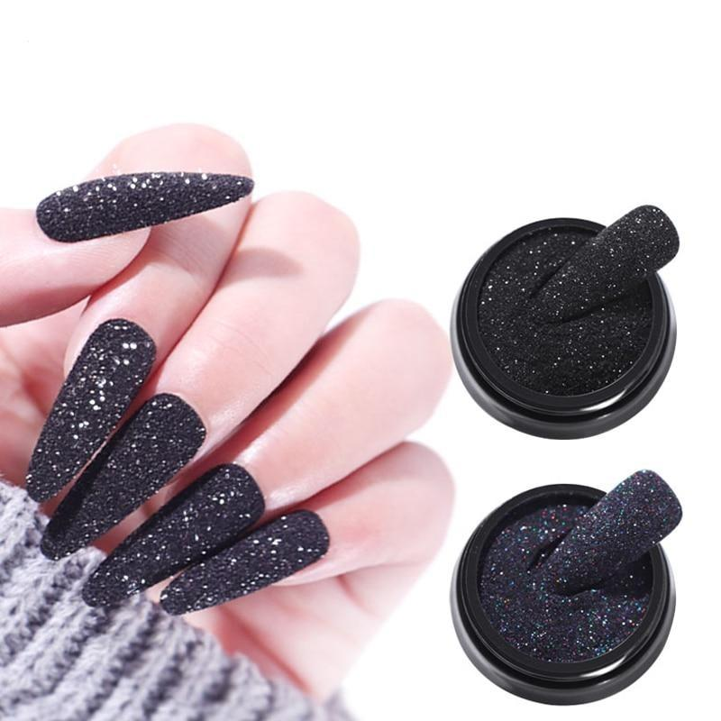 1Box Shining Black White Nail Glitter Powders VT202274 - Vettsy