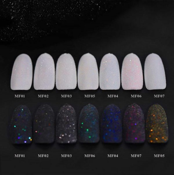 1Box Shining Black White Nail Glitter Powders VT202274 - Vettsy