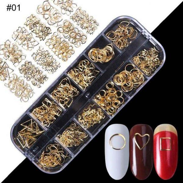 1 Case Gold Silver Hollow 3D Nail Art Decorations VT202033 - Vettsy