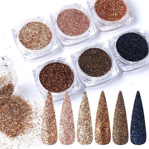 6pcs Nail Glitter Sugar Dipping Powder VT202119 - Vettsy