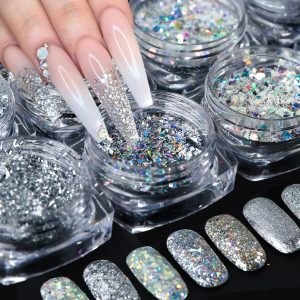 8pcs Laser Sequins for Nails Silver Glitter Chrome Pigment VT202125 - Vettsy