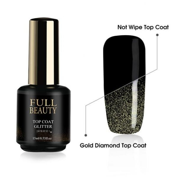 15ml Diamond Top Coat Nail Gel Polish VT202053 - Vettsy
