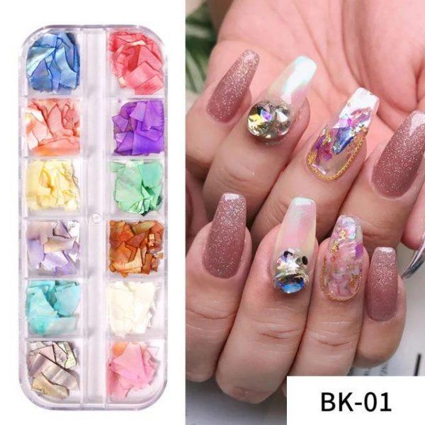1 Box 3D Natural Shell Flakes Irregular Nail Art Decoration VT202277 - Vettsy