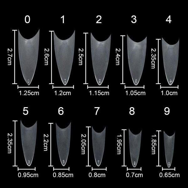 100PCS/Pack Natural /Clear/White Stiletto Sharp False Nail Tips VT202043 - Vettsy