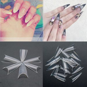 100PCS/Pack Natural /Clear/White Stiletto Sharp False Nail Tips VT202043 - Vettsy