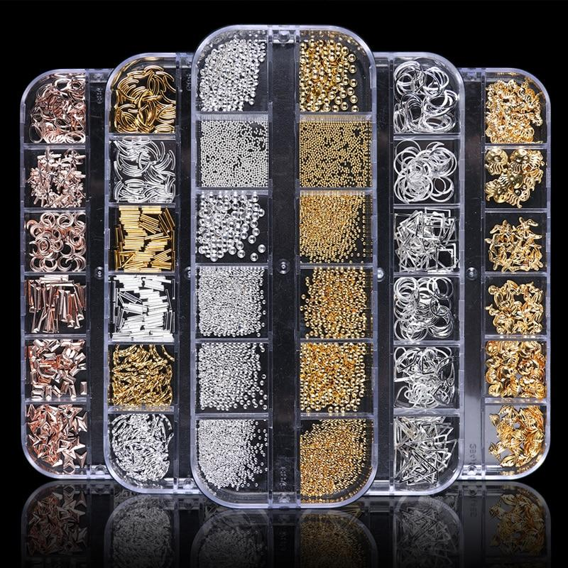 1 Case Gold Silver Hollow 3D Nail Art Decorations VT202033 - Vettsy