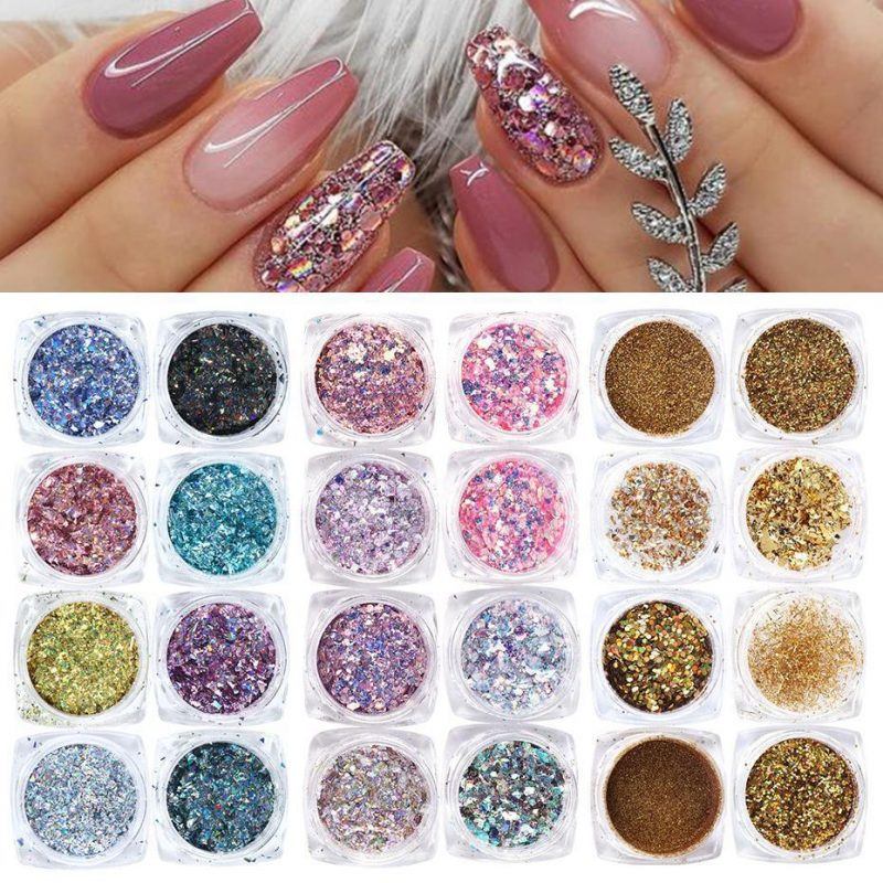 8pcs Nail Glitter Powder Mermaid Sequins Flakes VT202126 - Vettsy