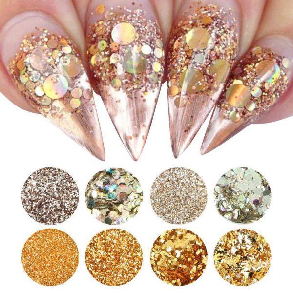 8pcs Nail Glitter Powder Mermaid Sequins Flakes VT202126 - Vettsy