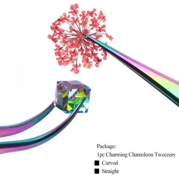 1pcs Rainbow Tweezers Curved Straight Eyelash Extension Nippers VT202086 - Vettsy
