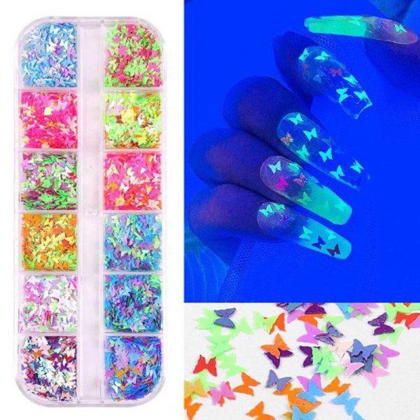 Butterfly Fluorescent DIY Nail Art Decoration Sequins VT202230 - Vettsy