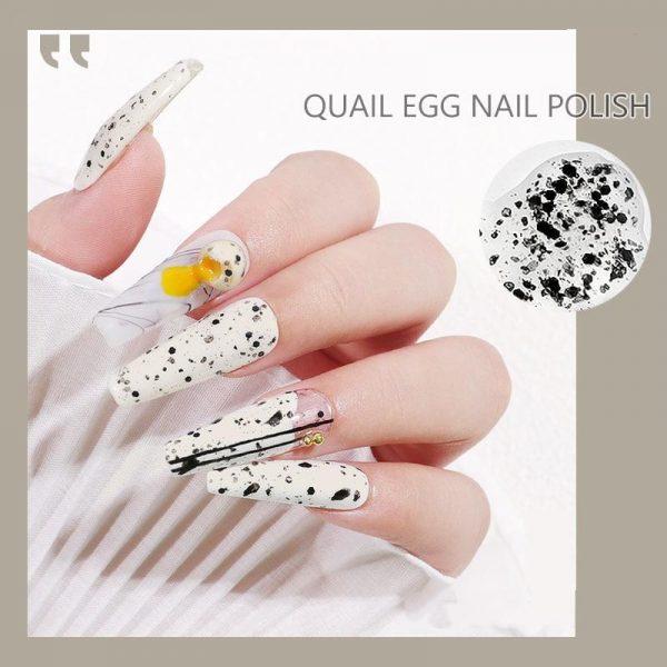 12ml Clear Base Egg Black Spot Effect Shell Nail Gel Polish VT202284 - Vettsy