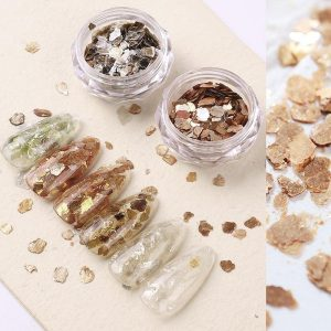 6Pcs/Set Nail Abalone Irregular Metal Color Shell Mica Slice Decorations VT202292 - Vettsy