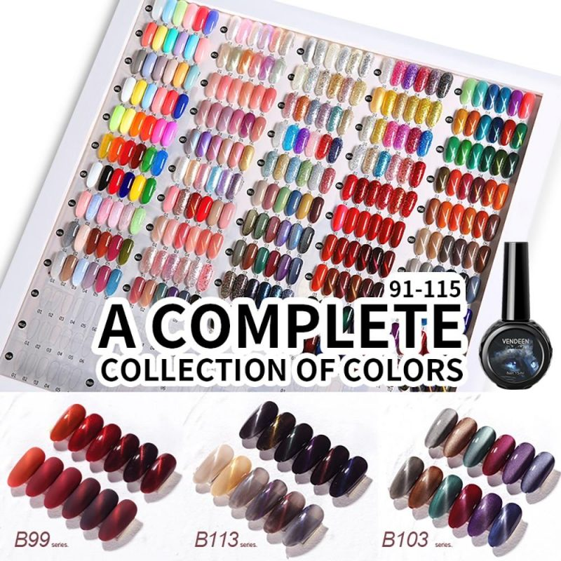 6 Colors/Set Glitter Sequins Cat Eye Gel Nail Polish Kit VT202302 - Vettsy