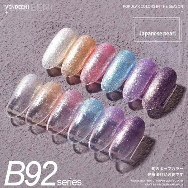 6 Colors/Set Glitter Sequins Cat Eye Gel Nail Polish Kit VT202302 - Vettsy