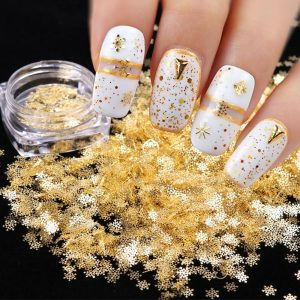 1pcs Gold Snow Flakes Nail Glitters Sparkles Decor Accessories VT202074 - Vettsy