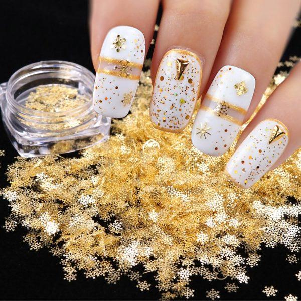 1pcs Gold Snow Flakes Nail Glitters Sparkles Decor Accessories VT202074 - Vettsy