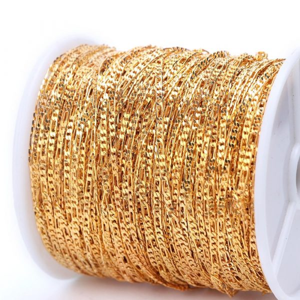 1m Nail Art Alloy Metal Chains Gold 3D Charms Decoration VT202058 - Vettsy